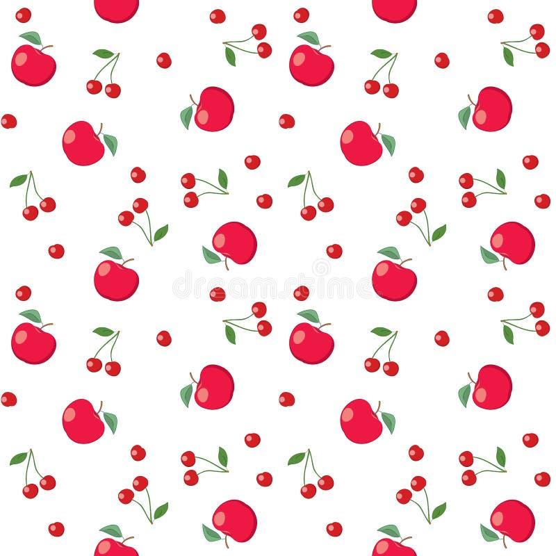 Красные яблоки и вишни на белой предпосылке - безшовной картине вектора иллюстрация вектора