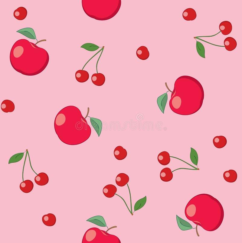 Красные яблоки и вишни на румяной предпосылке - безшовном векторе иллюстрация штока