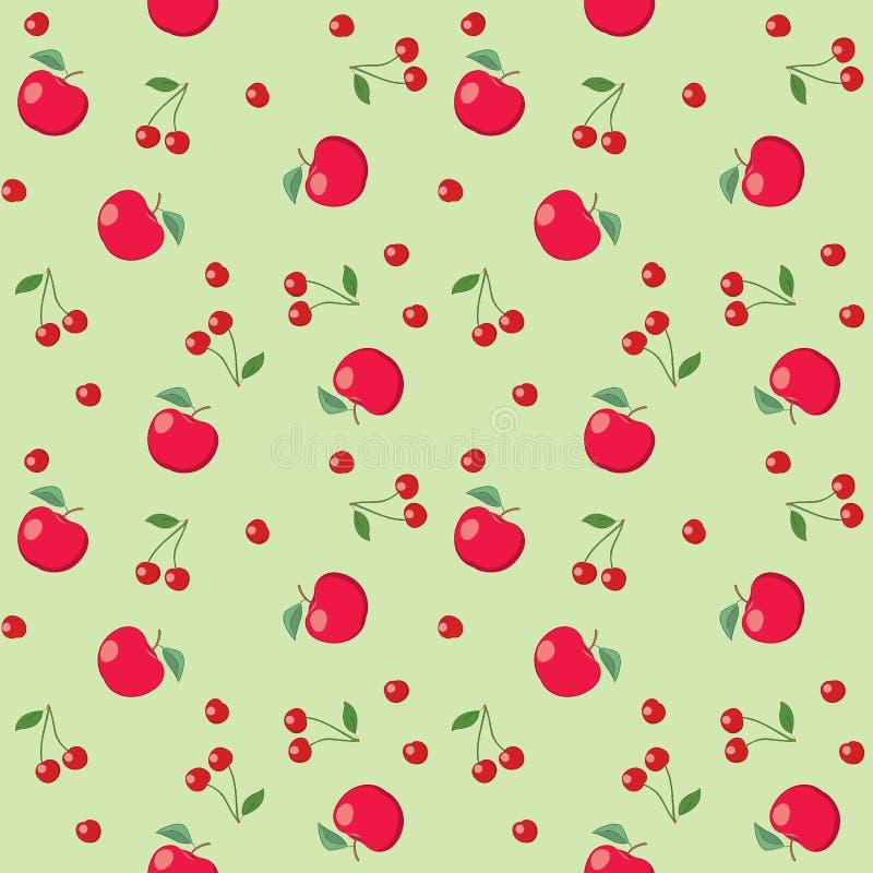 Красные яблоки и вишни на салатовой предпосылке - безшовной иллюстрация штока