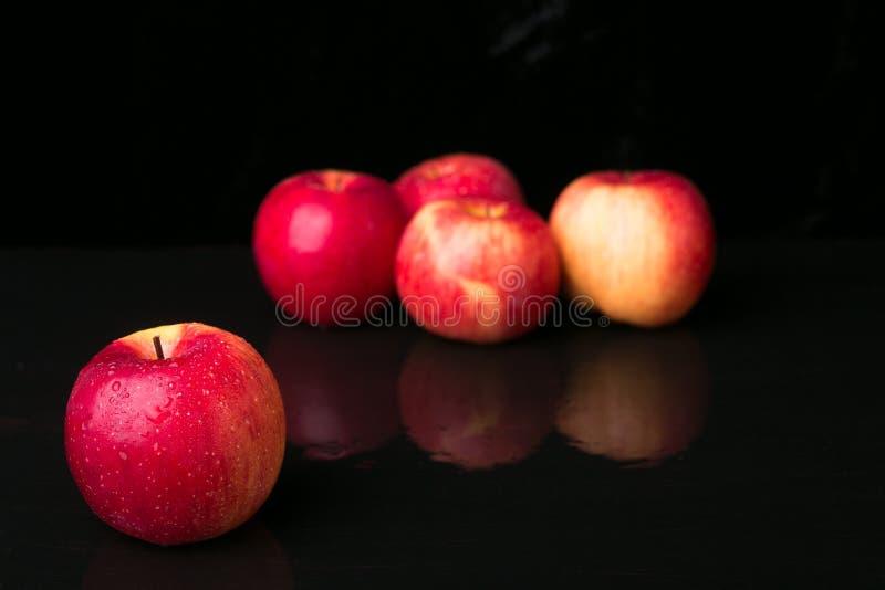 Красные яблоки на черной предпосылке влажно стоковые фото