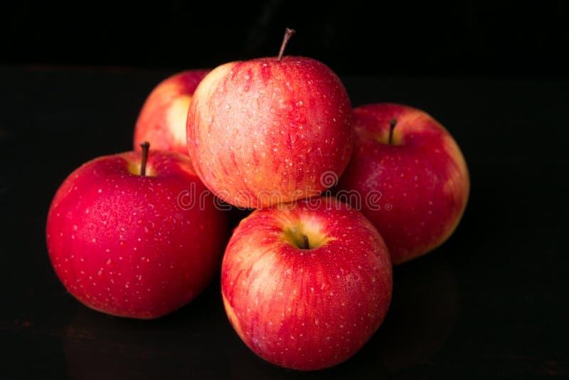 Красные яблоки на черной предпосылке влажно стоковая фотография rf