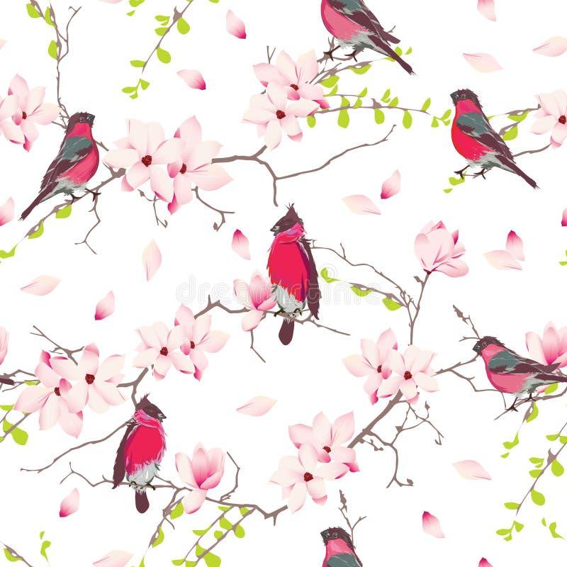 Красные bullfinches на дереве магнолии vector безшовная печать иллюстрация штока