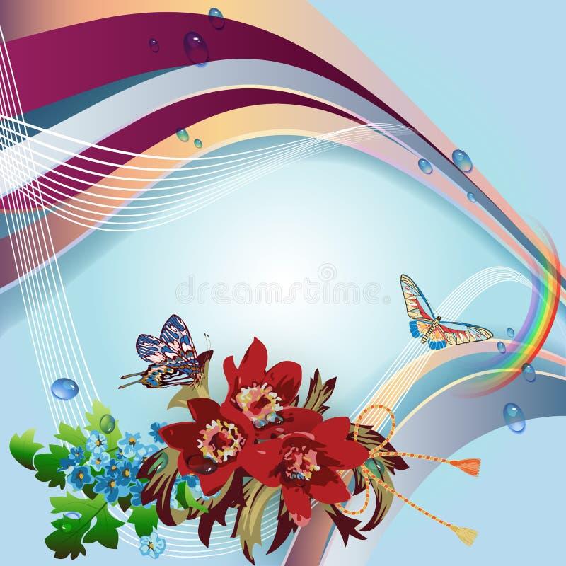 Красные peonies на голубой предпосылке иллюстрация штока