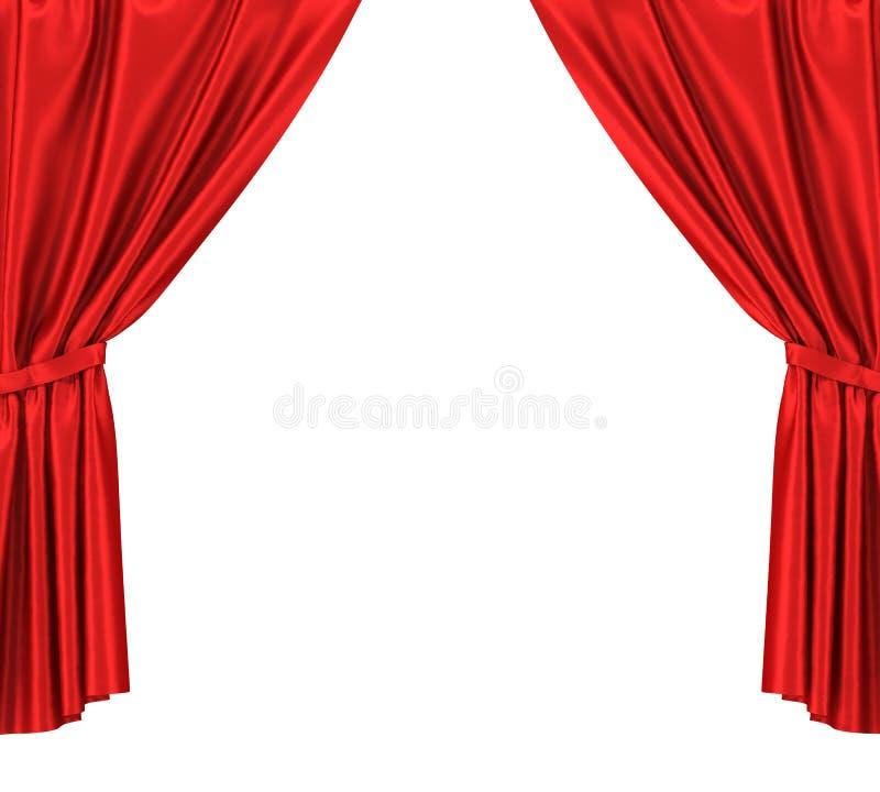 Красные silk занавесы при подвязка изолированная на белизне иллюстрация штока