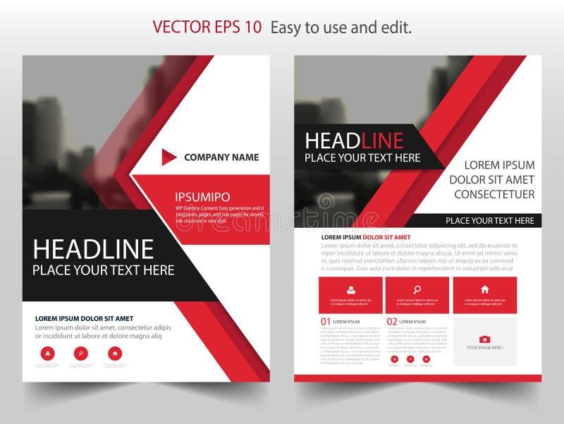 Красный абстрактный вектор шаблона дизайна брошюры годового отчета треугольника Плакат кассеты рогулек дела infographic иллюстрация вектора