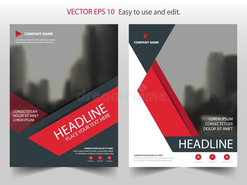 Красный абстрактный вектор шаблона дизайна брошюры годового отчета треугольника Плакат кассеты рогулек дела infographic бесплатная иллюстрация