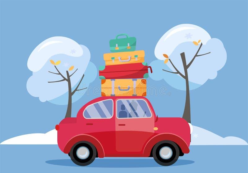 Красный автомобиль с чемоданами на крыше Семья зимы путешествуя на автомобиле : Взгляд со стороны автомобиля со стогом  бесплатная иллюстрация
