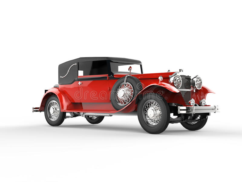 Красный автомобиль год сбора винограда иллюстрация вектора