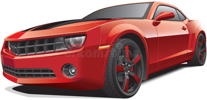 Красный автомобиль мышцы иллюстрация штока
