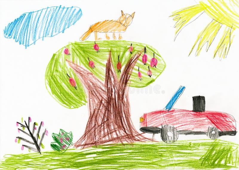 Красный автомобиль на glade дети рисуя гору дома иллюстрация штока