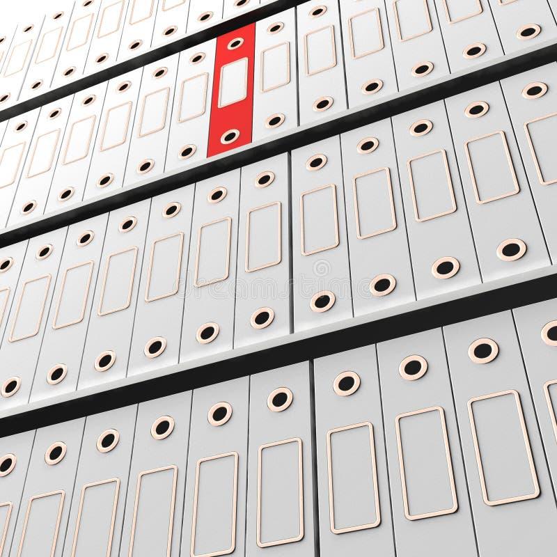Красный архив среди белизны для получать организован иллюстрация штока