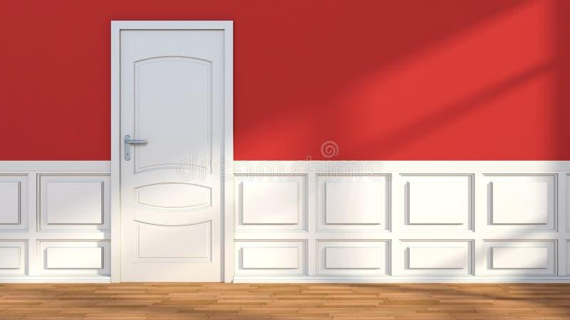 Красный белый классический интерьер с дверью иллюстрация штока