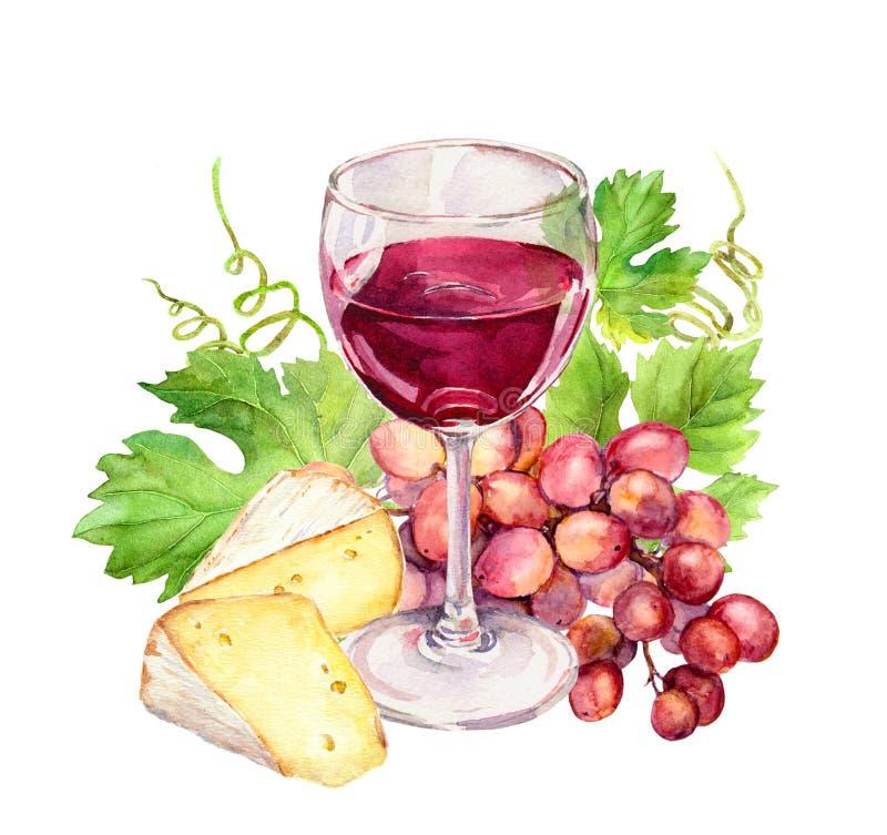 Красный бокал с лозой выходит, сыр, ягоды виноградины акварель бесплатная иллюстрация