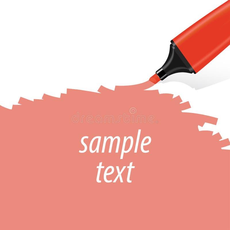 Красный вектор highlighter стоковое изображение