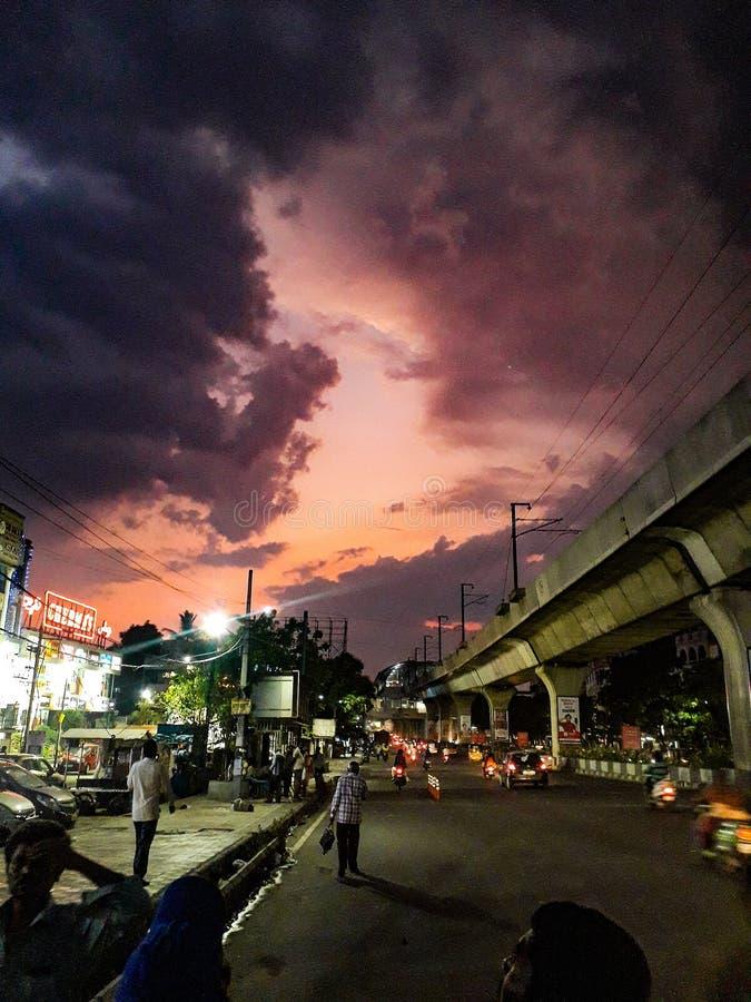 Красный вечер неба стоковая фотография rf