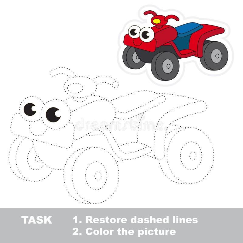 Красный велосипед квада, который нужно следовать Игра трассировки вектора иллюстрация вектора