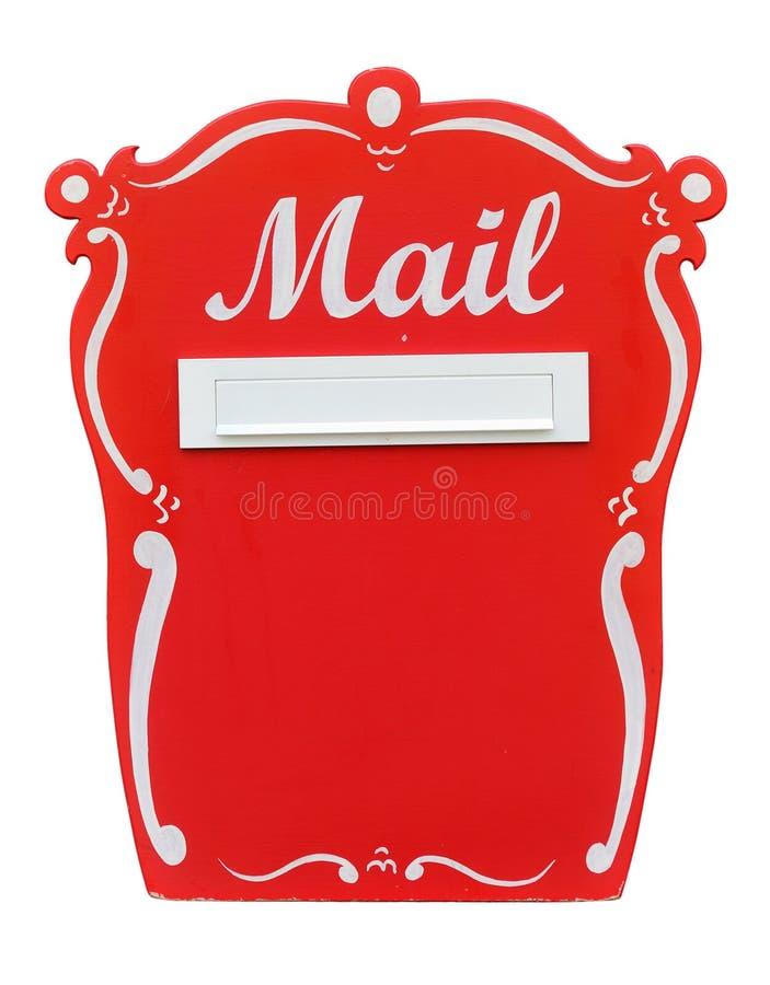 Красный винтажный почтовый ящик над белизной стоковая фотография rf