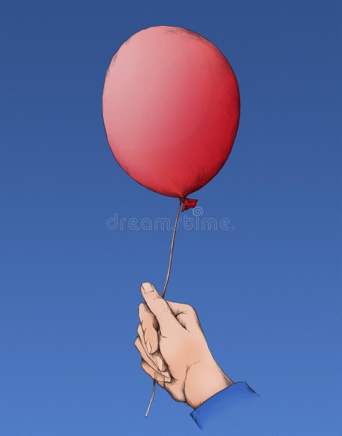 Красный воздушный шар в голубом небе стоковое изображение rf
