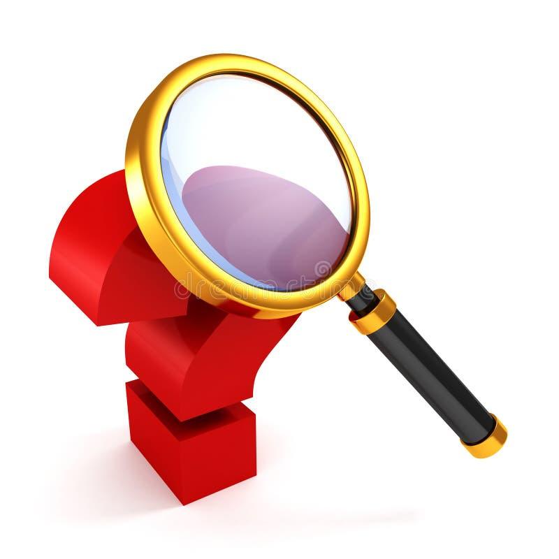 Красный вопросительный знак под золотистым стеклом увеличителя иллюстрация вектора