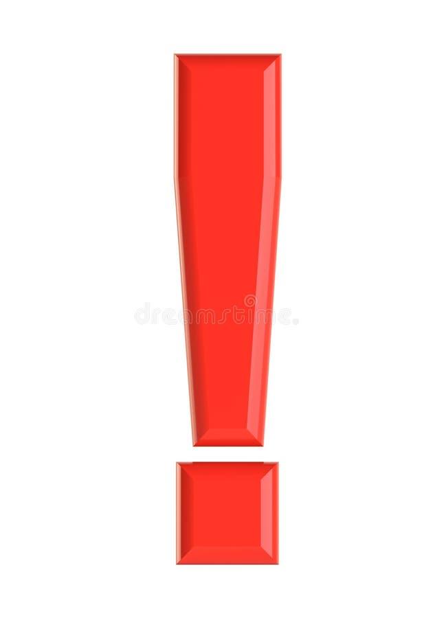 Красный восклицательный знак иллюстрация 3d иллюстрация вектора