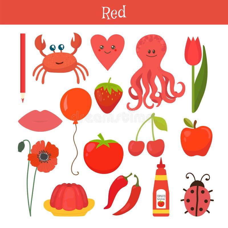 Красный Выучите цвет Комплект образования Иллюстрация основного col иллюстрация штока