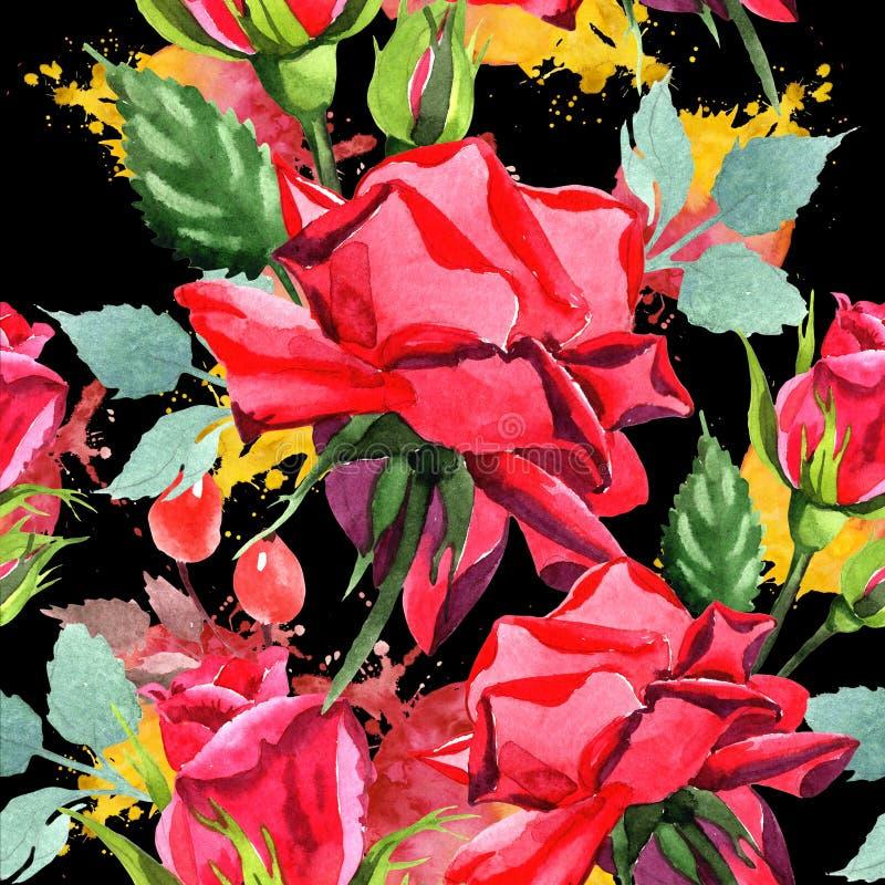 Красный гибрид поднял Флористический ботанический цветок Безшовная картина предпосылки Текстура печати обоев ткани бесплатная иллюстрация