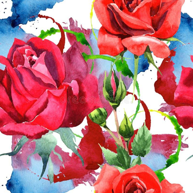 Красный гибрид поднял Флористический ботанический цветок Безшовная картина предпосылки Текстура печати обоев ткани иллюстрация вектора