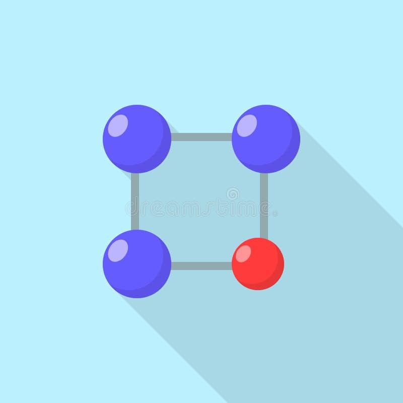 Красный голубой значок молекулы, плоский стиль иллюстрация вектора