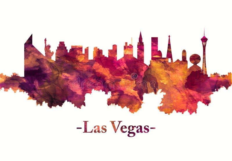 Горизонт Лас-Вегас в красном цвете иллюстрация вектора