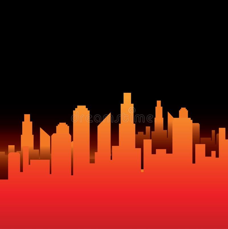 красный горизонт иллюстрация вектора
