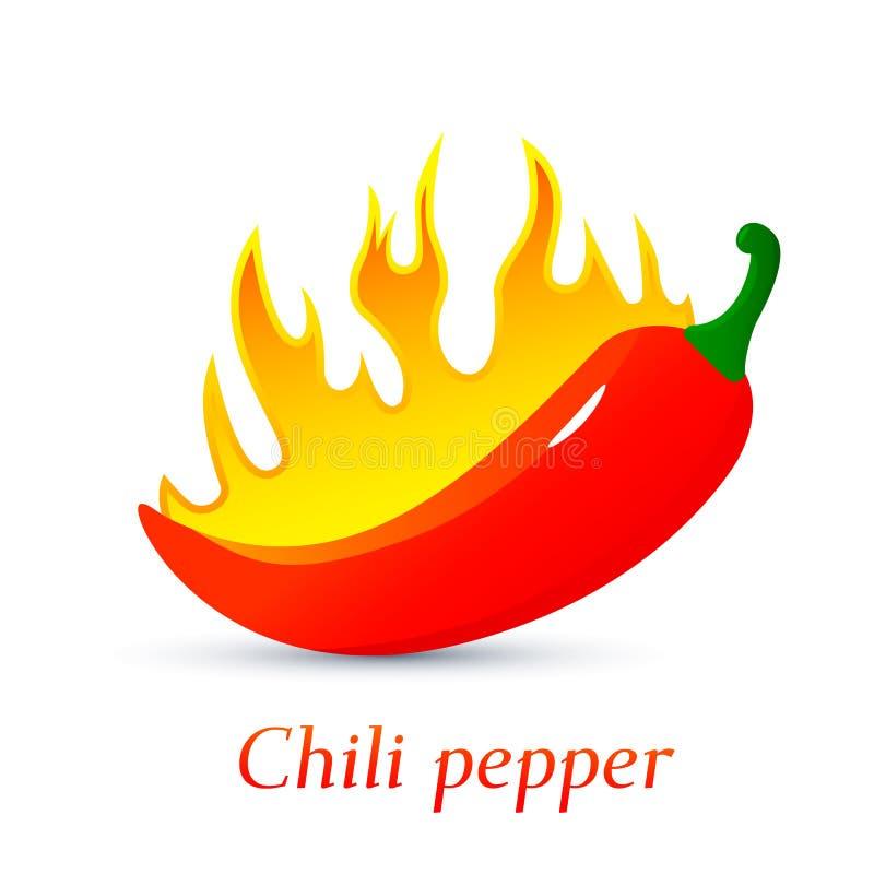Красный горящий перец горячего chili пламена овощей поглощанных огнем Плоская иллюстрация вектора изолированная на белой предпосы иллюстрация штока