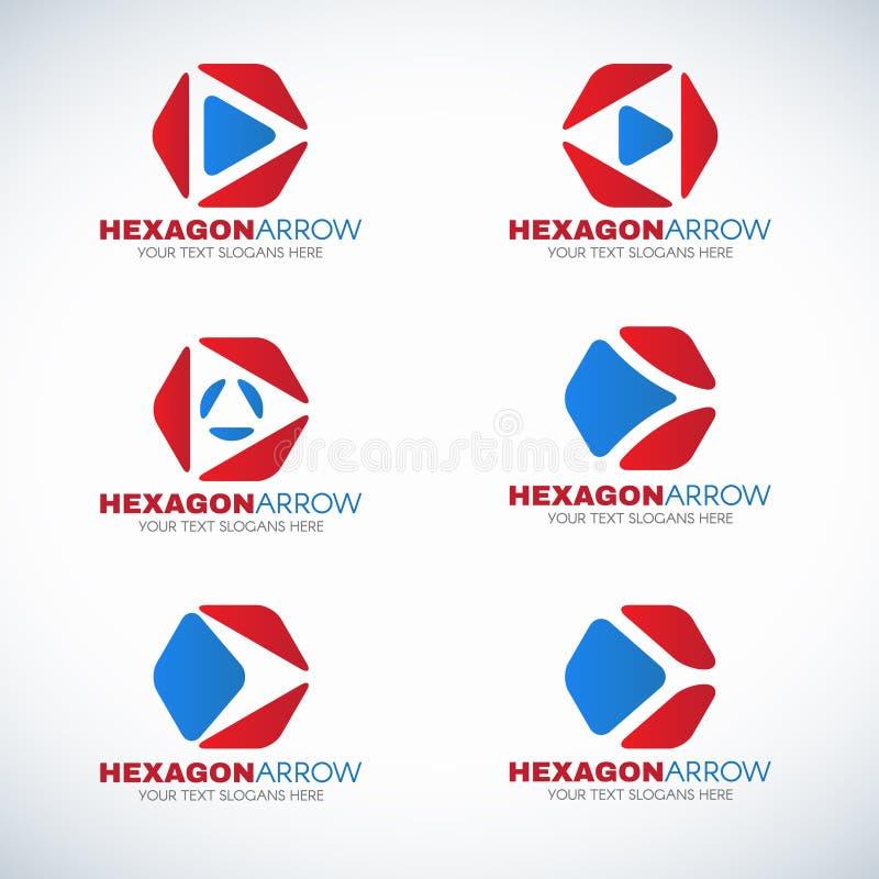 Красный голубой шестиугольник и вектор логотипа стрелки угловой конструируют иллюстрация вектора