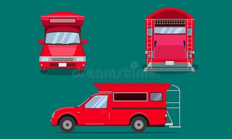 Красный грузовой пикап с иллюстрацией вектора Чиангмая перехода взгляда лицевой стороны пассажира обложки стальной скрежетать авт иллюстрация вектора