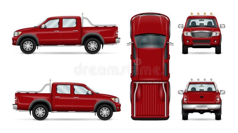 Красный грузовой пикап иллюстрация вектора