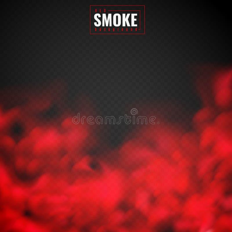 красный дым Облака порошка тумана красные куря текстуру смога пугающей пылевоздушной конденсации тумана прозрачную изолированную  иллюстрация вектора