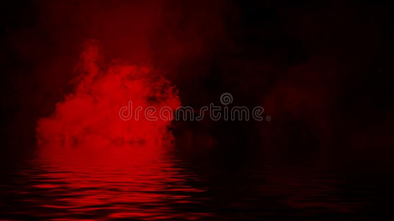 Красный дым с отражением в воде r стоковое фото