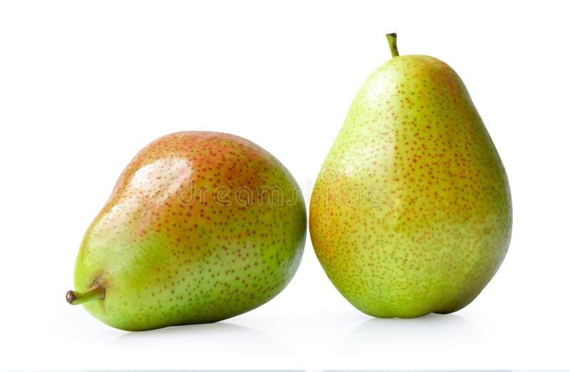 Красный желтый плод груши изолированный на белом на белой предпосылке стоковая фотография