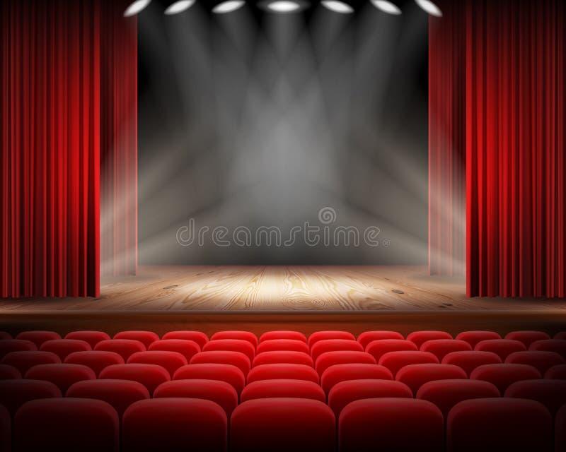 Красный занавес и пустая театральная сцена стоковое фото rf