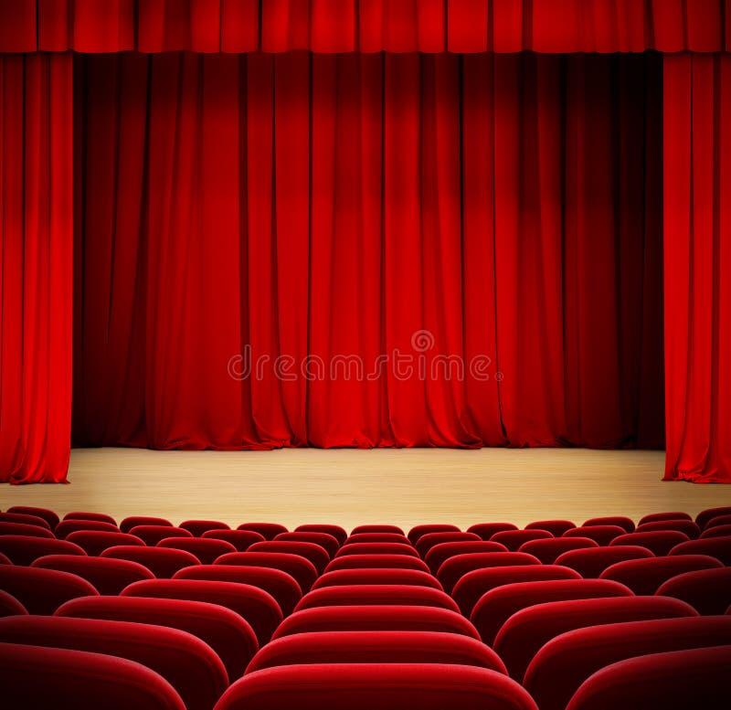 Красный занавес на этапе театра деревянном с красным бархатом стоковые изображения