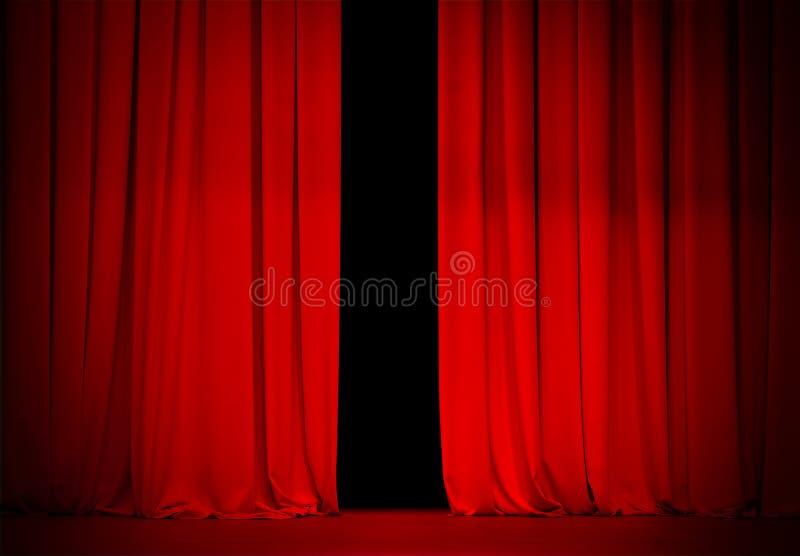 Красный занавес на этапе театра или кино стоковое фото rf