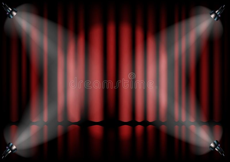 Красный занавес от театра с фарой иллюстрация штока