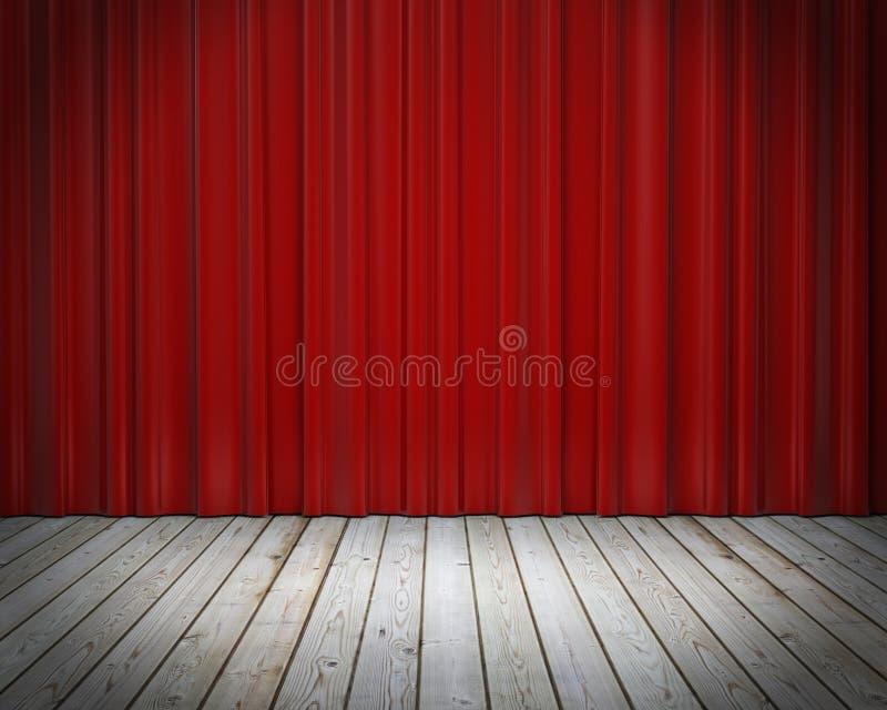Красный занавес этапа и деревянный пол, предпосылка бесплатная иллюстрация