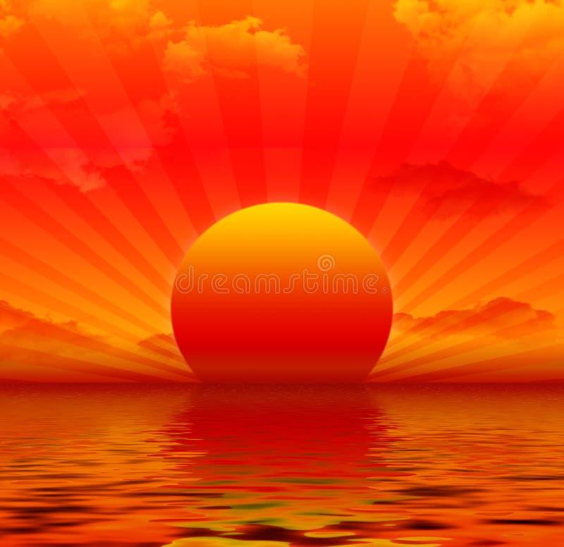 красный заход солнца бесплатная иллюстрация