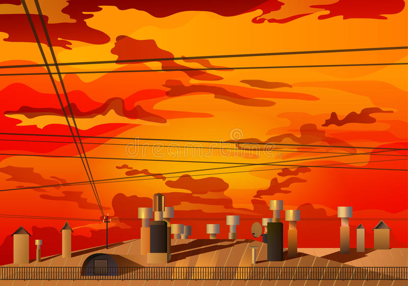 Красный заход солнца над крышами вектора бесплатная иллюстрация