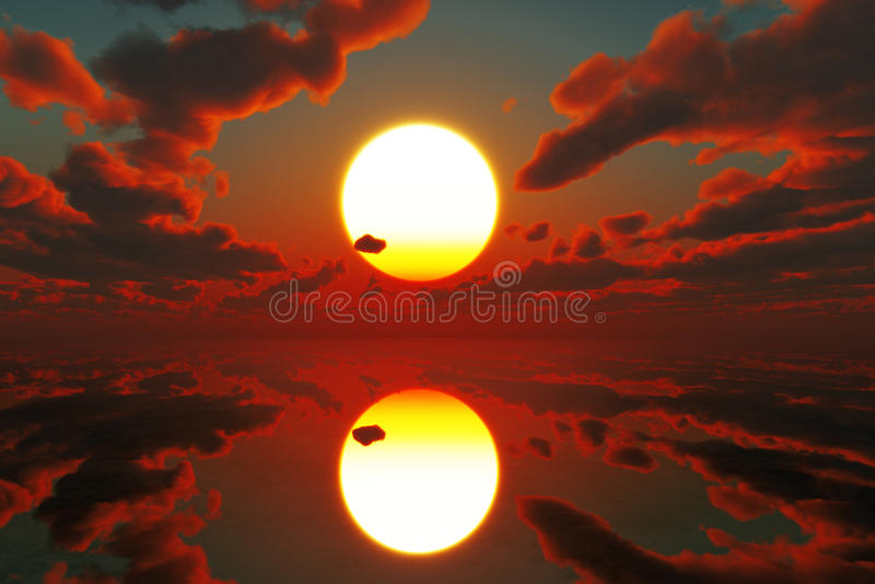 Красный заход солнца над морем стоковые фото
