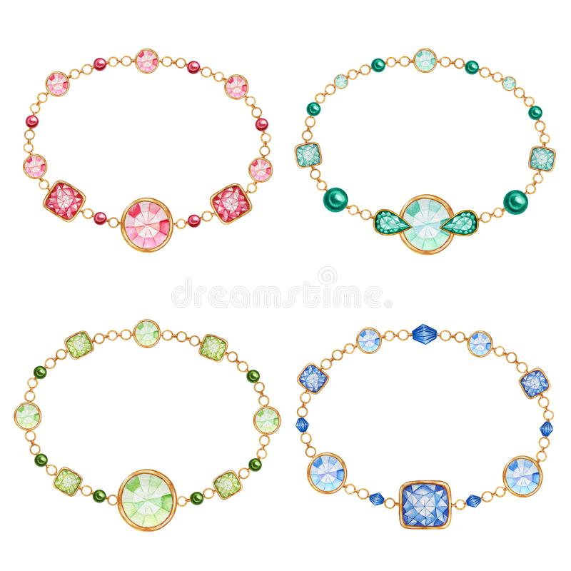 Красный, зеленый, синий и круглый хрустальный камень с золотым элементом Красивый набор ювелирных браслетов Водный цвет иллюстрация вектора