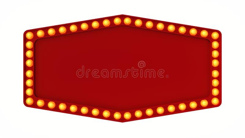 Красный знак доски света шатёр ретро на белой предпосылке перевод 3d стоковое изображение