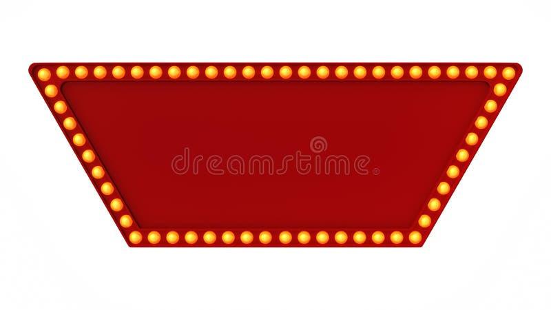 Красный знак доски света шатёр ретро на белой предпосылке перевод 3d стоковые изображения