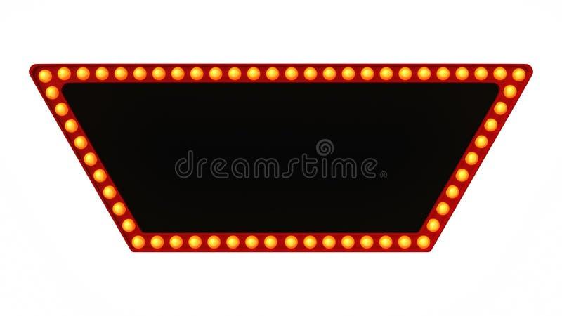 Красный знак доски света шатёр ретро на белой предпосылке перевод 3d стоковые фотографии rf