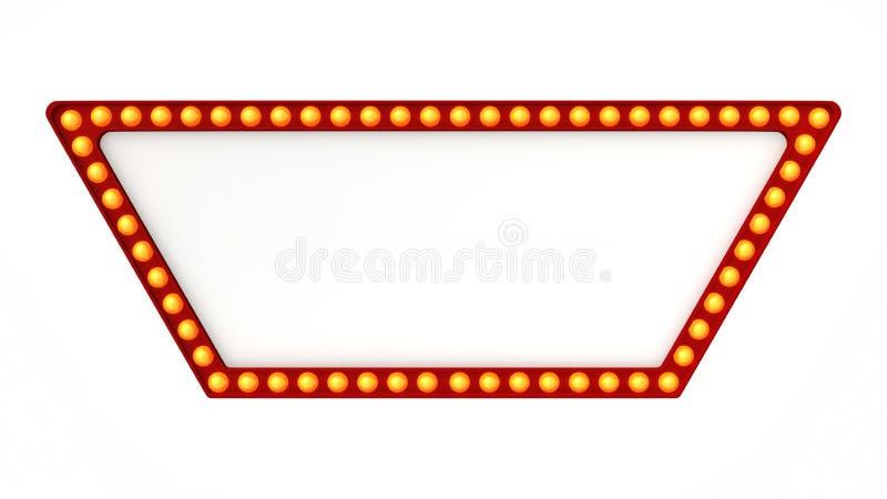 Красный знак доски света шатёр ретро на белой предпосылке перевод 3d стоковая фотография